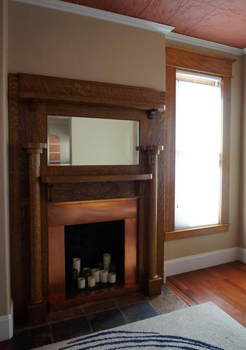 Photo of Copper Fireplace in Vintage Home